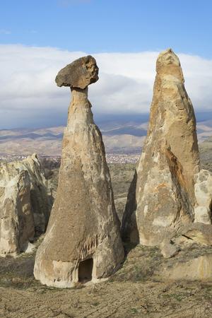 dwelling: Ancient dwelling in the cone of rock-fungus. Cappadocia, Turkey