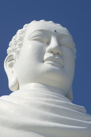 sean: Head sculpture of a sitting Buddha close up. Pagoda Dong Sean in Nha Trang, Vietnam Stock Photo