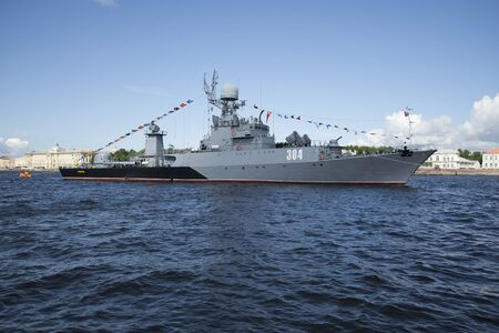 anti season: ST. PETERSBURG, RUSSIA - JULY 25, 2015: MPC Urengoy on the river Neva - the participant of parade of military ships. Navy day in St. Petersburg
