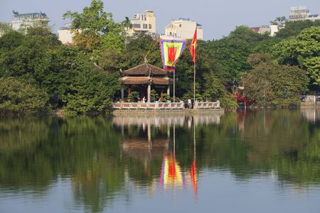 returned: HANOI, VIETNAM - DECEMBER 13, 2015: Sword lake and temple jade on a sunny day