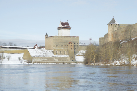herman: View of the castle Herman winter morning from Ivangorod