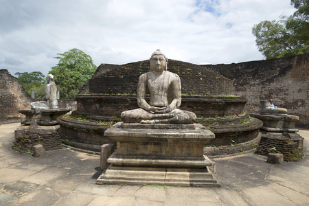 archaeological complex: POLONNARUWA, SRI LANKA - MARCH 15, 2015: A view of the Terrace of the Tooth Buddha in the archaeological complex of Polonnaruwa