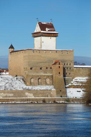 herman: View of Herman castle in the beginning of march. Narva, Estonia
