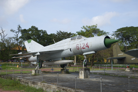 mig: HUE, VIETNAM - JANUARY 07, 2016: MiG-21, the city Hue. Member of the fighting in the Vietnam War Editorial