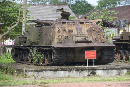 hue: HUE, VIETNAM - JANUARY 08, 2016: American engineering tank during the Vietnam war in Hue