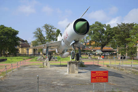 hue: HUE, VIETNAM - JANUARY 07, 2016: Soviet MiG-21 close up. City Museum