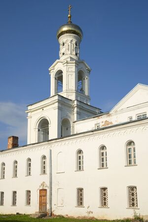 vertex: View of the bell tower of St. Georges monastery. Veliky Novgorod, Russia