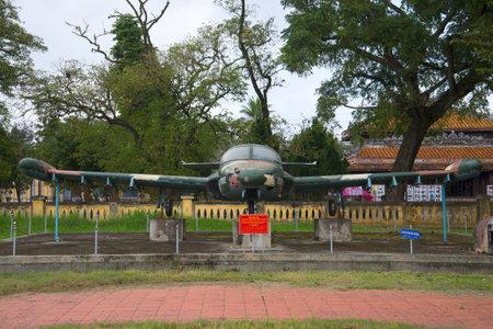 cessna: HUE, VIETNAM - JANUARY 08, 2016: Plane Cessna A-37 Dragonfly front view. City Museum, Hue Editorial