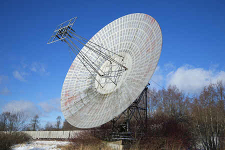 radio telescope: The radio telescope of the Pulkovo astronomical observatory of the sunny february day. St. Petersburg Editorial