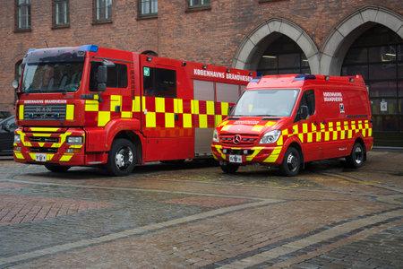 municipal: COPENHAGEN, DENMARK - NOVEMBER 01, 2014: Two car municipal fire service