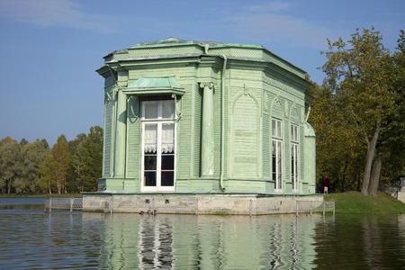 venus: The pavilion of Venus. The view from White lake, Gatchina, Russia Stock Photo