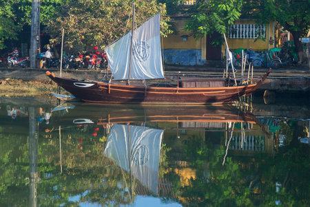 replica: HOI AN, VIETNAM - JANUARY 04, 2016: Replica of ancient junks