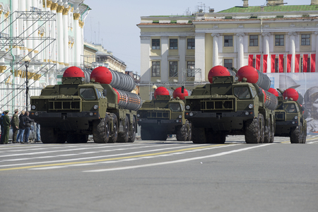 a rehearsal: SAINT PETERSBURG, RUSSIA - MARCH 05, 2016: Four missile launchers air defense missile systems S-300PM at the rehearsal of parade in honor of Victory Day in St. Petersburg