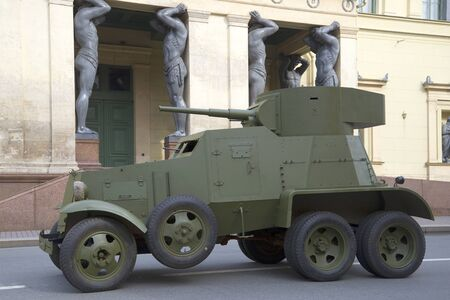armored car: SAINT PETERSBURG, RUSSIA - MAY 05, 2015: Soviet armored car 30-ies BA-3 on the background of the New Hermitage