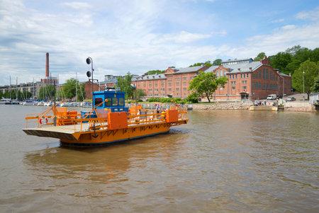 turku: TURKU, FINLAND - JUNE 13, 2015: Passenger ferry Fiori in the river embankment