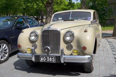 turku: TURKU, FINLAND - JUNE 06, 2015: Jaguar Mark IX, front view closeup. A meeting of holders of cars Jaguar in Turku