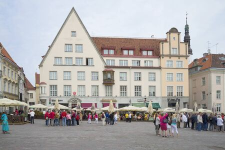 town hall square: TALLINN, ESTONIA - JUNE 07, 2014: Cloudy day of the Town hall square