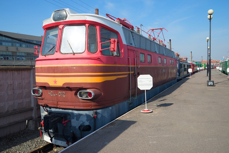 czechoslovak: SAINT PETERSBURG, RUSSIA - MARCH 30, 2016: Former Czechoslovak passenger electric chs4 on the railway