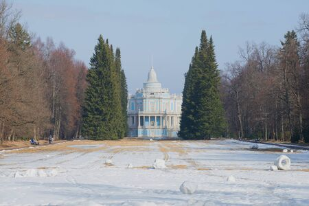 by catherine: ORANIENBAUM, RUSSIA - MARCH 27, 2016: Spring in Oranienbaum. View of the old sliding hill pavilion