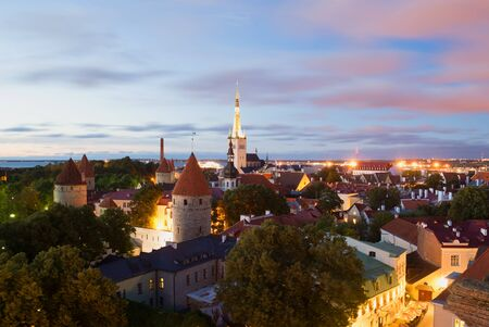 desolated: View of the Old Town of white at night. Tallinn, Estonia Stock Photo