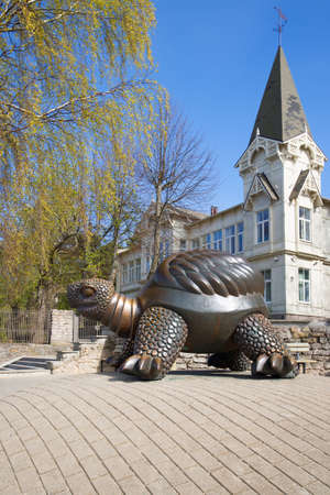 bard: JURMALA, LATVIA - MAY 02, 2014: The sculpture of a large turtle on a spring day