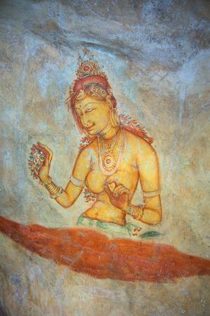 sigiriya: Image of royal concubines. Ancient fresco on the wall of mount Sigiriya, Sri Lanka