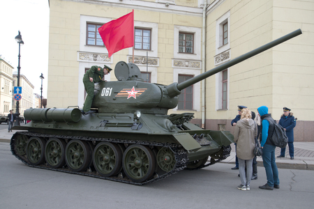 t34: SAINT PETERSBURG, RUSSIA - MAY 05, 2015: Soviet tank of the Second world war, the T34-85 before the rehearsal of parade in honor of Victory Day