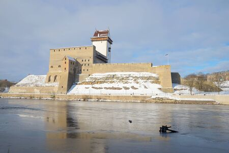 herman: View of the castle Herman cloudy march morning. Narva, Estonia