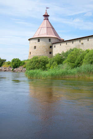 leningrad: View of the tower Golovin of the Oreshek fortress on a summer day. Leningrad region, Russia Stock Photo