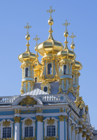 selo: The dome of the Church of the resurrection of Christ. Catherine Palace, Tsarskoe Selo, Russia Editorial