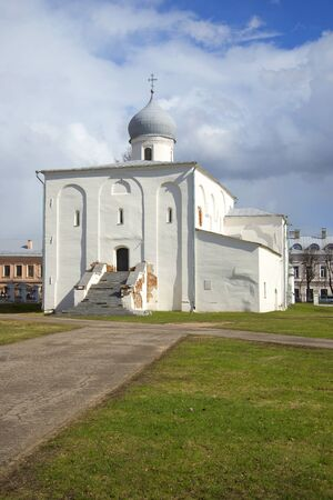 assumption: The old church of the Assumption cloudy april afternoon. Velikiy Novgorod, Russia