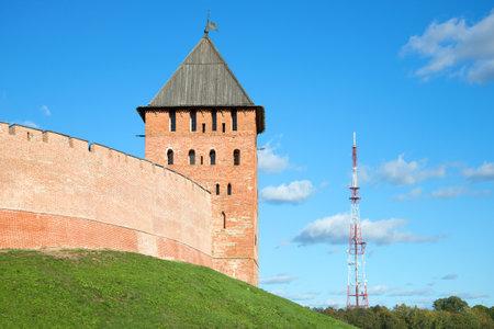 veliky: Tower of the Novgorod Kremlin in the profile. Veliky Novgorod, Russia