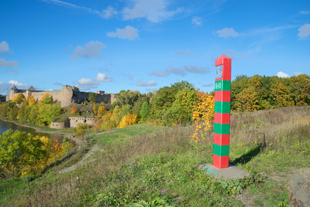 desolated: The Russian border post at Ivangorod fortress, september day. Leningrad region, Russia