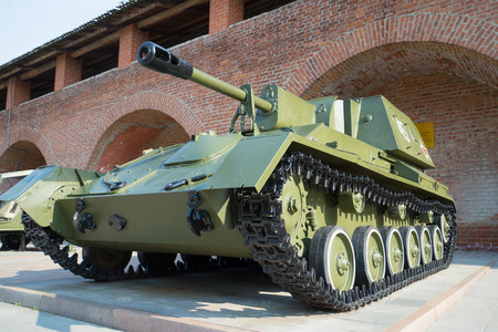 nizhny novgorod: NIZHNY NOVGOROD, RUSSIA - AUGUST 27, 2016: Self-propelled artillery SU-76 close-up. Exposition of military equipment in the Kremlin in Nizhny Novgorod