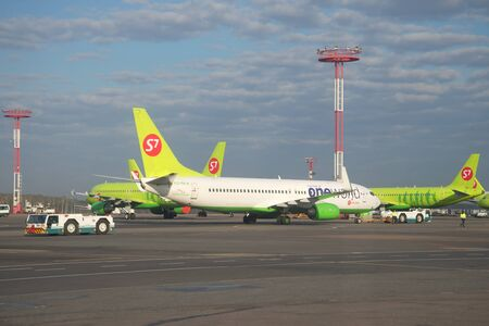 boeing: MOSCOW, RUSSIA - APRIL 30, 2016: The Boeing 737-800 (VQ-BKW) on the airfield of Domodedovo airport Editorial