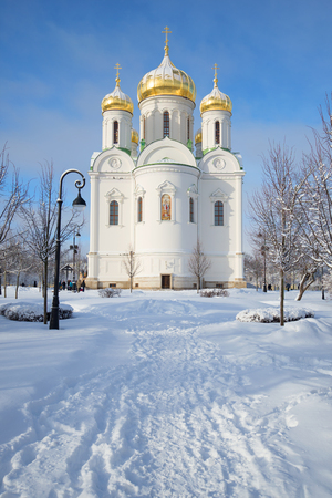 martyr: SAINT PETERSBURG, RUSSIA - FEBRUARY 08, 2015: View of the Cathedral of St. Catherine the great Martyr, sunny february day. Tsarskoye Selo, Russia