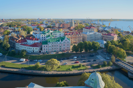 vyborg: VYBORG, RUSSIA - OCTOBER 11, 2015: Panorama of the old town of Vyborg, october evening