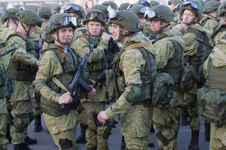 division: PSKOV, RUSSIA - MAY 07, 2016: Soldiers of the 76th guards air assault division (Pskov airborne division) preparing for rehearsal of parade in honor of Victory Day