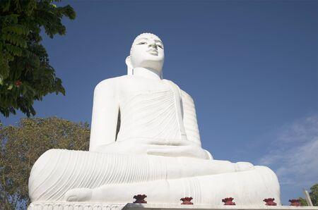 buddha sri lanka: Giant seated Buddha statue in the Mahabodhi temple Sri Maha Viharay. Religious landmark of the city Kandy, Sri Lanka