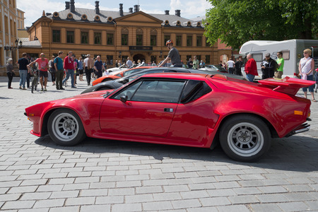 turku: TURKU, FINLAND - JUNE 13, 2015: De Tomaso Pantera GTS at the parade of sports cars in Turku