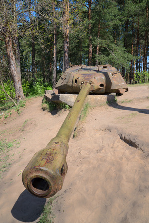 exhibition complex: SAINT PETERSBURG, RUSSIA - MAY 15, 2016: Artillery tower installation, AFDS on the base of the tower tank is-4, sunny may day. The exhibition complex Sestroretsk abroad
