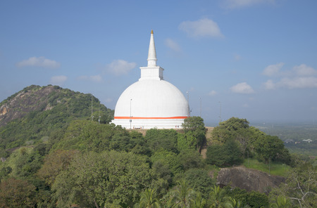 dagoba: View of the stupa Dagoba Mahasaya. Mihintale, Sri Lanka Stock Photo