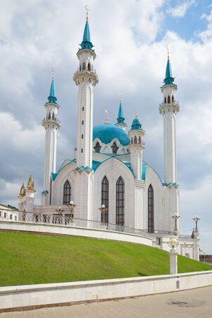 At the cathedral mosque of Kul-Sharif, cloudi april day. The Kazan Kremlin, Tatarstan