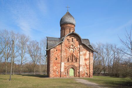 veliky: The ancient Church of Peter and Paul, sunny april day. Veliky Novgorod, Russia