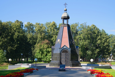 uglich russia: The chapel of St. Prince Alexander Nevsky, the monument to the Uglich people - the defenders of the Fatherland. Uglich, Russia Stock Photo