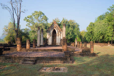 surrounds: On the ruins of the ancient Buddhist temple Wat Chom Chuen in the vicinity of the city of Si Satchanalai. Thailand