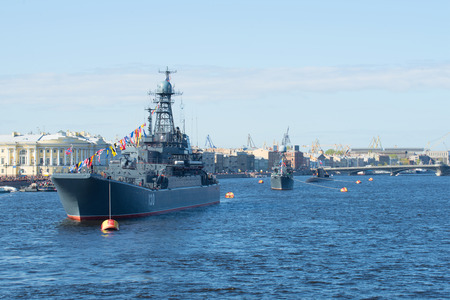 convoy: SAINT PETERSBURG, RUSSIA - MAY 09, 2015: A convoy of ships of the Baltic fleet on parade in honor of Victory day on the river Neva in Saint Petersburg