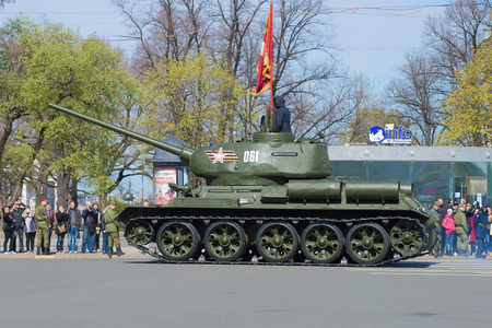 t34: SAINT PETERSBURG, RUSSIA - MAY 05, 2015: T-34 tank at the rehearsal of parade in honor of Victory Day in St. Petersburg