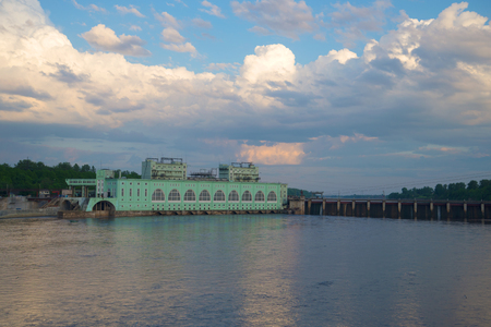 hydroelectric station: View on the Volkhov hydroelectric station in the june twilight. Russia