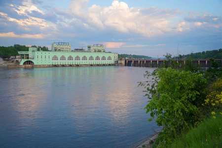 Volkhov hydroelectric power station in the june twilight. Volkhov, Leningrad region, Russia